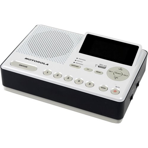 Motorola Outdoors MWR839 Desktop Weather-Alert Radio and Alarm Clock with AM/FM, NOAA, and AUX-in