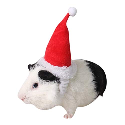 Yinrunx Small Pets Christmas Festival Decorative Costume Hamster Dutch Groundhog Squirrel Totoro Santa Hat with Band -