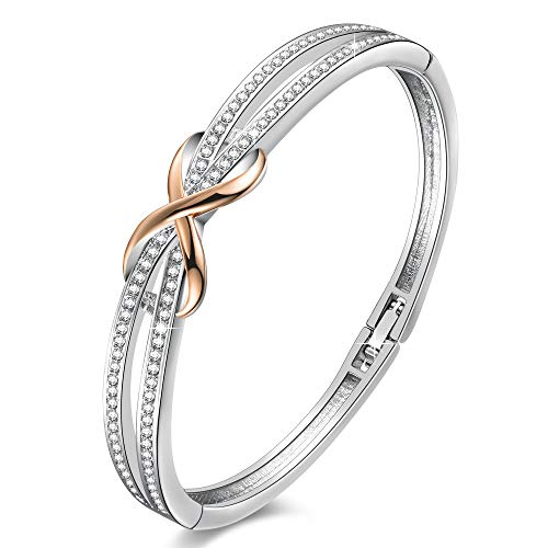 Angelady Rose Gold Plated Encounter Bangle Bracelet for Women Girls,Crystals from Swarovski,Infinity Lucky Endless-Anniversary Birthday Bracelets Gifts for Wife Mom Grandma Memories Luxury Gift Box