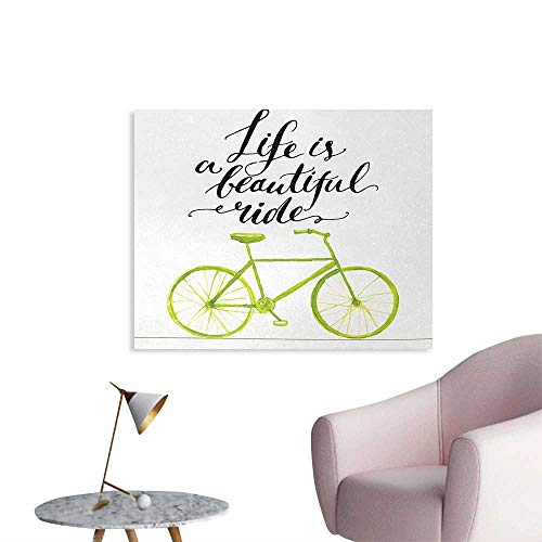 (Tudouhoho Bicycle Poster Print Life is A Beautiful Bike Ride Quote Print with Pastel Color Unique Bike Graphic Wall Picture Decoration Green Black W36)