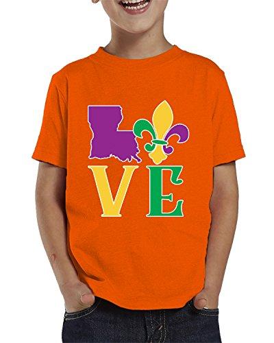 Louisiana Bourbon - SpiritForged Apparel Love Louisiana Mardi Gras Toddler T-Shirt, Orange 5T/6T