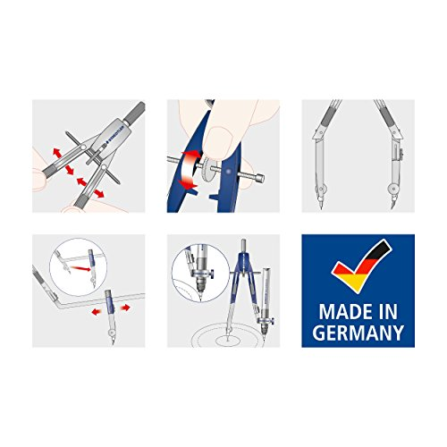 Staedtler Comfort 2 Pc Metal Quick Setting 6 Compass Set, 552 01