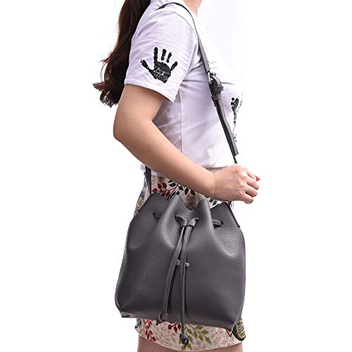 Drawstring Small PU Purses Artmis Cross body Women Bucket 2 Graynew Bags Set Pieces Leather fqPFfrwS