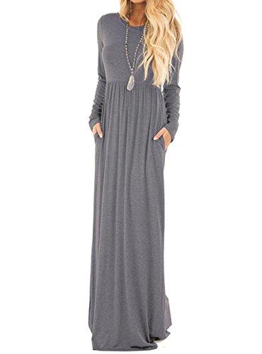 Women's Autumn Round Neck Dress Solid Color Ladies Casual Dress - 7