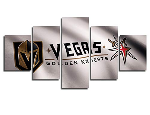 Chicicio Vegas Golden Knights NHL Hockey Team Logo Framed Wall Art Decor Modern Art Paintings 5 Piece Canvas Decoration Wall Picture Gift for Boys Artwork Ice Hockey Prints Poster(60''Wx32''H)
