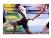 Seitenansicht von drei Männern vorbei einen Staffelstab Kunstdruck (60,96 x...