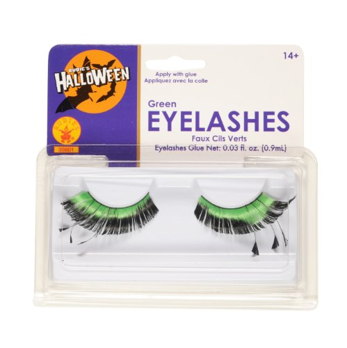 Rubies Green Eyelashes and Adhesive (Green Eyelashes)