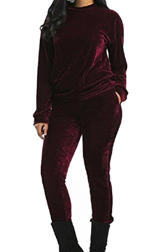 Coolred-Women Autumn Solid Stylish Velvet Dress Suit Leisure Active Wear Wine Red -