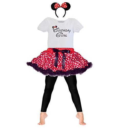 Birthday Girl T-Shirt w/Red or Pink Polka Dot Tutu-Headband & Legging 4 PCs Set (Age 5, Red-Pdot) ()