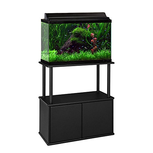 Aquatic Fundamentals Black Aquarium Stand with Storage Cabinet - for 10 and 20 Gallon Aquariums (20 Gallon Fish Tank Stand)