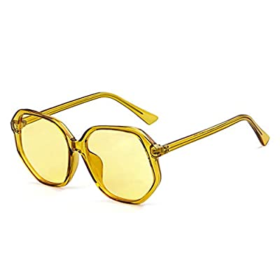 Oversized Polygon Yellow Sunglasses Women Vintage Colorful Crystal Frame Pink Sun Glasses Shades OM741