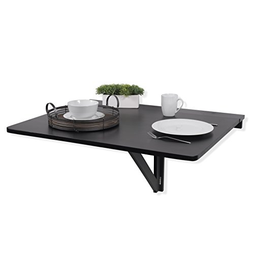 Fasthomegoods WALLNITURE Drop Leaf Dining Table Wall Mounted Workstation Solid Pine Wood Black Large 36x30 Inches Pine Drop Leaf
