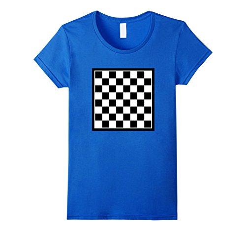Women's Checkers board T-Shirt Medium Royal Blue (Royal Blue Checkerboard)