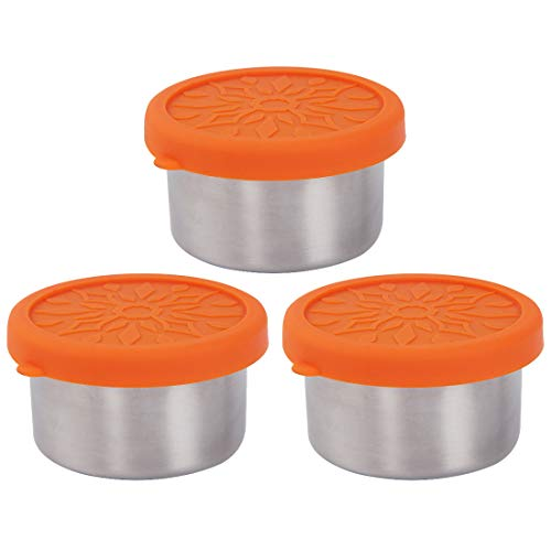 kilofly 3-Piece BPA Free Leak Proof Reusable Round Eco to Go Stainless Steel Food Storage Container with Silicone Lid for Dip Condiment Salad Dressing Meal Prep Snack Baby Kid Lunch, 3.4-Ounce Orange