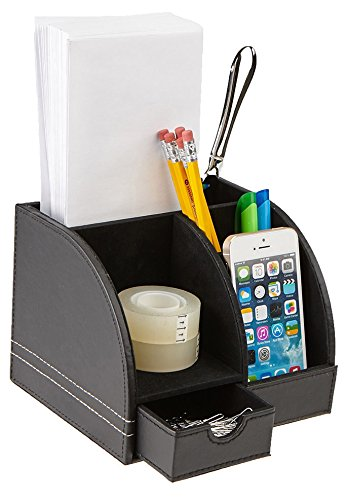 High Stationary Black Leather (Mind Reader Desk Supplies Organizer, 5 Compartment, Faux Leather, Black)