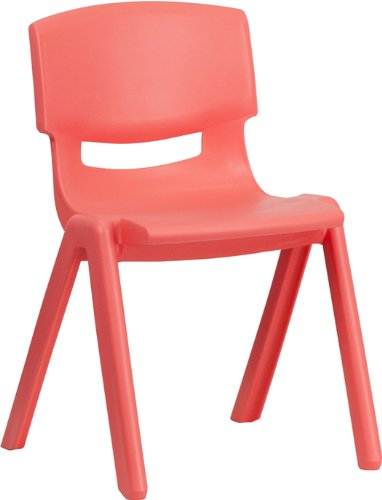 Red Plastic Stack Chair - Flash Furniture Red Plastic Stackable School Chair with 13.25'' Seat Height