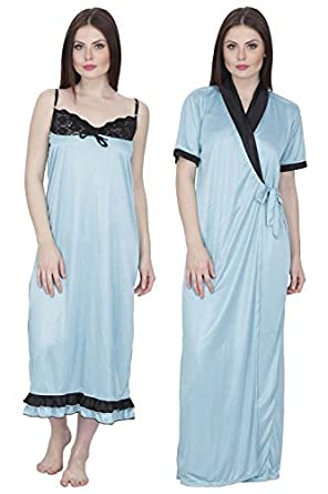 c8e54560e9 Secret Wish Women s Satin Nighty with Robe Satin Nighty Nightwear Multicolor  Nighty HC-186 Sky Blue  Amazon.in  Clothing   Accessories
