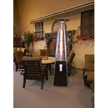 Resort Model 40,000 BTU 4 Sided Pyramid Style Glass Tube Flame Patio Heater  In Rich
