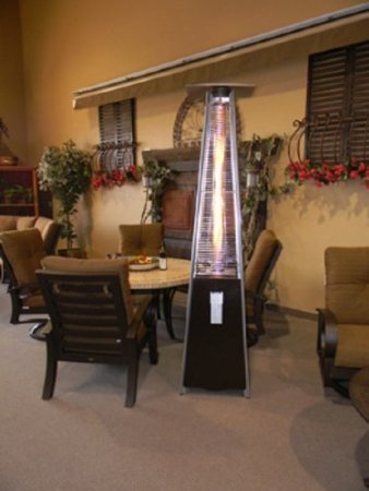 Attractive Resort Model 40,000 BTU 4 Sided Pyramid Style Glass Tube Flame Patio Heater  In Rich