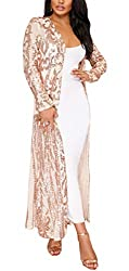 Beige Long Sleeve Sequins Open Front Cardigan Coat