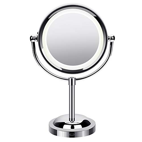 Govee Lighted Makeup Mirror, Double Sided LED Vanity Mirror, 3x/1x Magnifying, 360° Rotation USB Swivel Tabletop Mirrors -