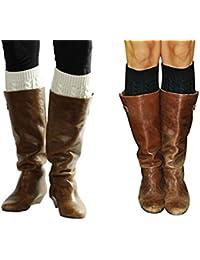 Boot Cuffs for Women, Cute Leg Warmer Boots Topper, Knit Boot Socks