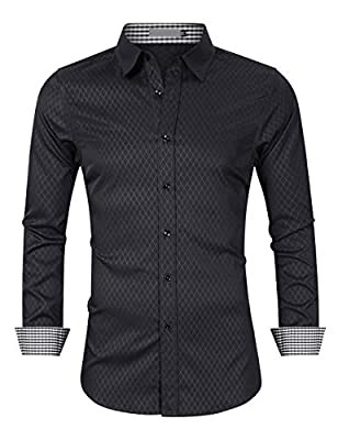 Brosloth Men's Dress Shirt Twill Long Sleeve Buttoned Down Printed Dress Shirts with Plaid Collar