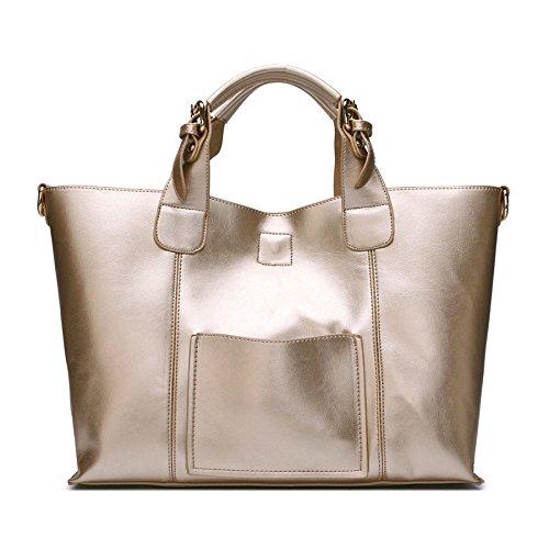 DHFUD Bolso De Hombro De La Mujer Messenger Bag Atmósfera Simple Gold