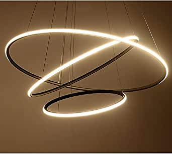 """Saint Mossi Exclusive Design Modern Circular Led Chandelier Adjustable Hanging Light Tania Trio Collection Contemporary Ceiling Pendant Light H47"""" X D32"""""""