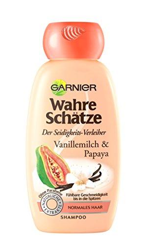 GARNIER Wahre Schätze Shampoo / Intensive Haarpflege bis in die Spitzen / Für mehr Seidigkeit (mit Vanillemilch & Papaya - für normales Haar - ohne Parabene) 1 x 250ml