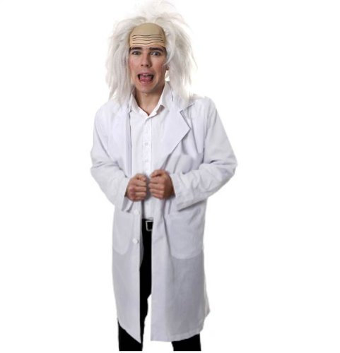 [Mens Mad Crazy Scientist Inventor Professor Doctor Fancy Dress Costume + WIG M-L by Star55] (Mad Inventor Costume)