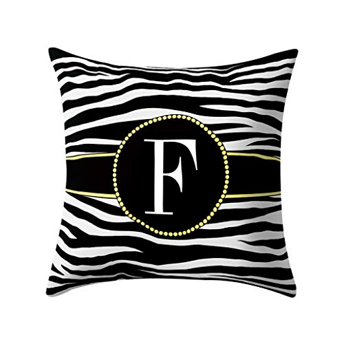 (18 x 18 Inch Throw Pillow Cases, Strip English Alphabet Print Cushion Cover Home Decor for Sofa Bed Car by Fulijie)