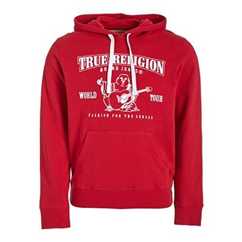 True Religion Men's Buddha Logo Pullover Hoodie Sweatshirt (Large, Ruby Red)