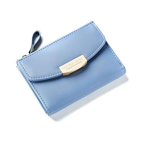 Women Teengirls Leather Wallet Small Compact Bifold Pouch Mini Purse Credit Card Case Houlder Coin Zipper Pocket Blue