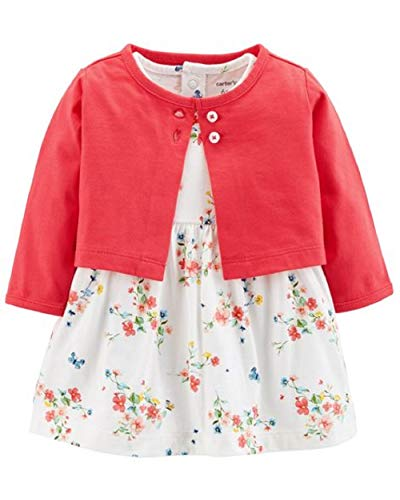 Carter's Baby Girls 2 Piece Bodysuit Dress and Cardigan Sweater Set, Cherry, 12 ()