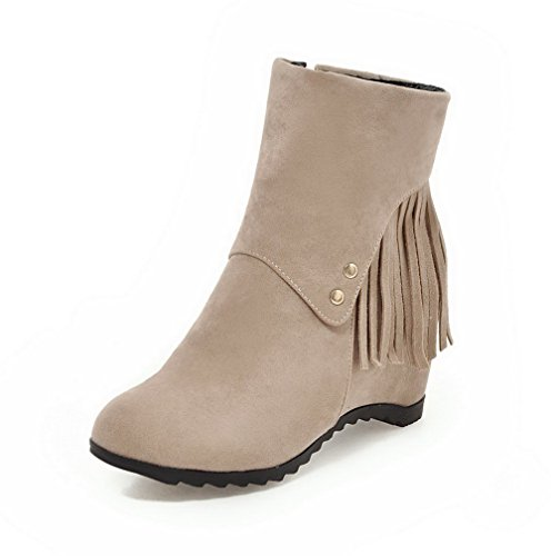 Beige Materials AgooLar Kitten Boots Solid Blend Round Heels Women's Toe Zipper wqfSag
