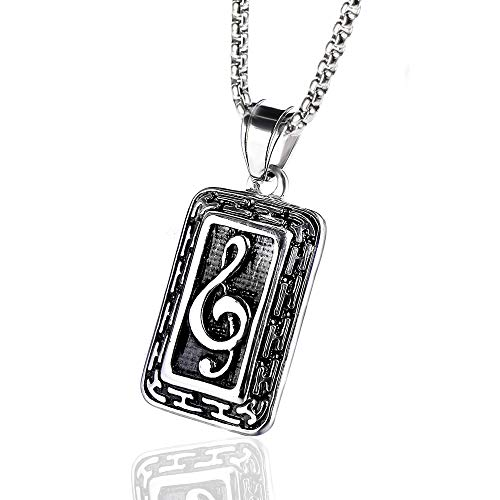 Stainless Steel Love Music Note Fashion Pendant Chain Necklace for Women Men, 24