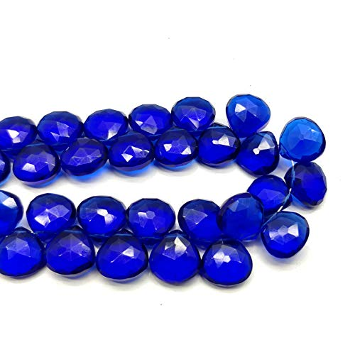 1 Strand Blue Sapphire Quartz 11x11 mm Pear Faceted 9 Inch Loose Beads.