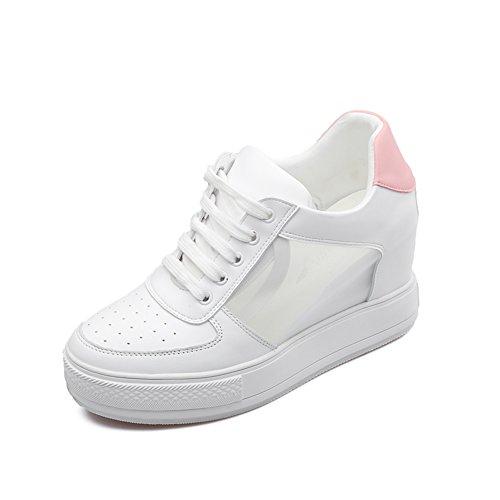 Moda casuales zapatos de las señoras/zapatos de suela gruesa corbata en primavera/Zapatos blanco transpirables A