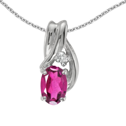 Jewels By Lux 14k White Gold Genuine Birthstone Oval Pink Topaz And Diamond Pendant (0.43 Cttw.)
