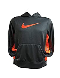 Nike Boy's KO 2.0 Swoosh Hoodie (Dark Gray Orange)