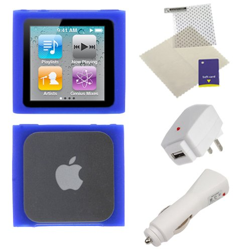 GTMax 4 Pieces -2X USB Charger+Blue Silicone Soft Case+LCD Screen Protector For iPod Nano 6th Gen eMaxland