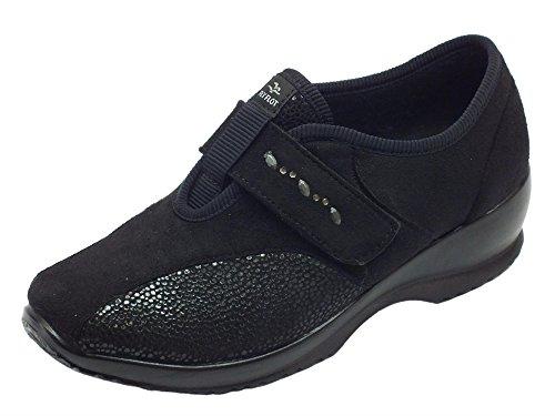 Pantofole chiuse Fly Flot in tessuto nero effetto nabuk chiusura velcro (Taglia 37)