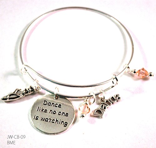 Silvertone Ballet Dancer Toe Shoe Dance Like No One is Watching Bangle Bracelet Charms Pink Dangles
