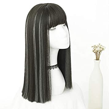 Amazon Com Long Straight Hair In The Wig A Knife Cut Short