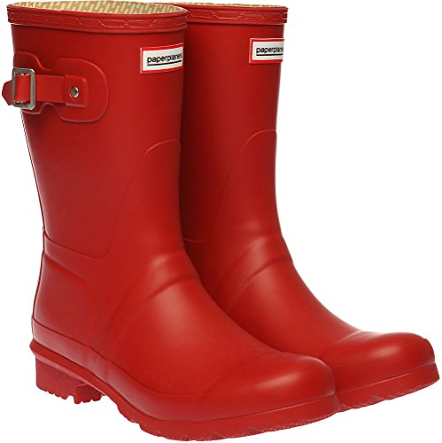 Trendy 1193 Wellington Middle Women Rain 1 Paperplanes Boots Red Garden CfwdUqd