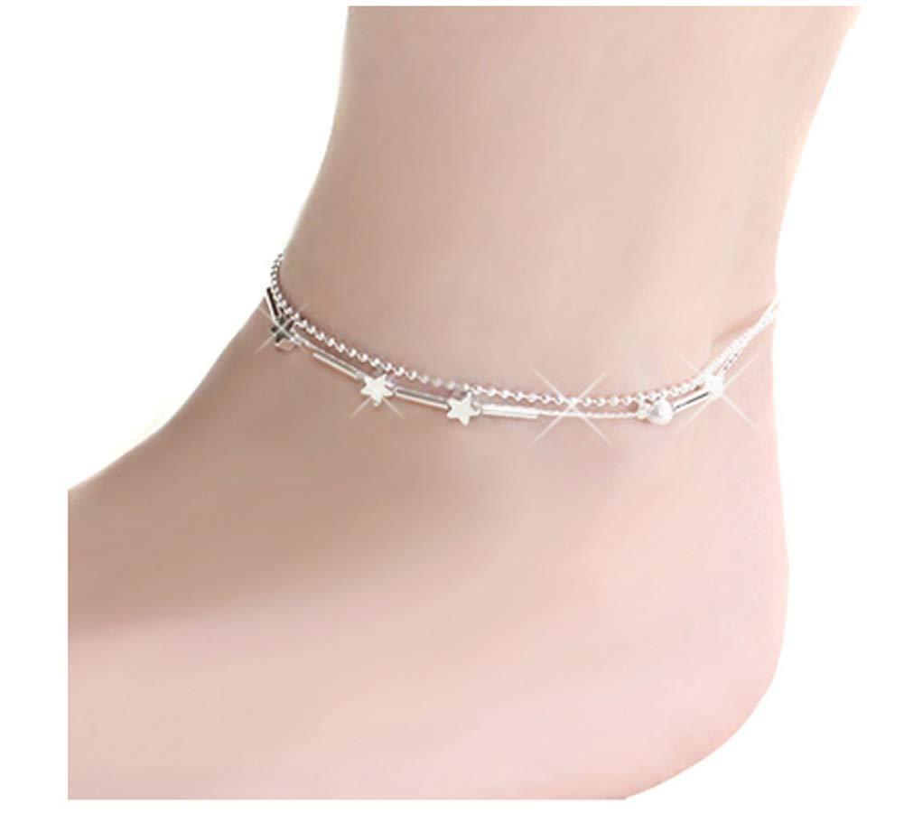 erioctry Petite étoile Double Chaîne Ankle Ring Anklet Bracelet Barefoot Sandal Bijoux pour Pied de Plage pour Femmes Filles