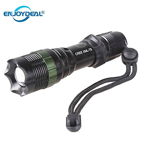 (Cacys Store - 3000LM Led police Tactical Flashlight CREE XM-L T6 Lanterna Zoomable Cree Torch Light Waterproof 5 Modes For 1x18650 3xAAA)