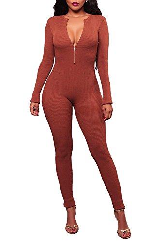 Remelon Womens Elegant Comfy Stretch High Waist Long Pants Cocktail Knit Jumpsuits With Zipper Orange M (Comfy Bodysuit)