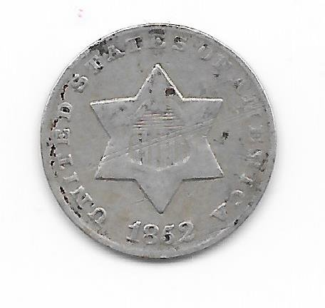 1852 THREE CENT SILVER Affordable---VERN'S CARD & COIN Three-Cent Good